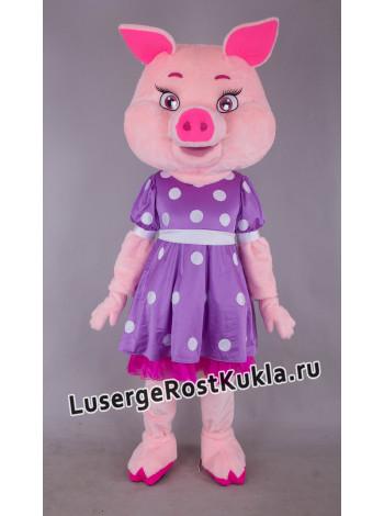 """Ростовая кукла """"Свинка в фиолетовом платье"""""""